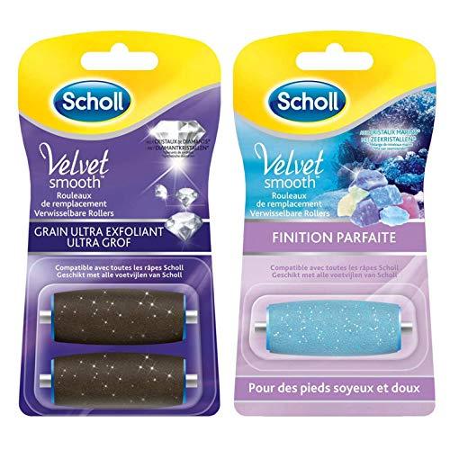 Scholl Ersatzrollen für elektrische Reibe, Peeling-Füße, Velvet Smooth – Hornhautentferner – 3 Stück (2 Rollen Ultra Peeling + 1 Rolle Finish)
