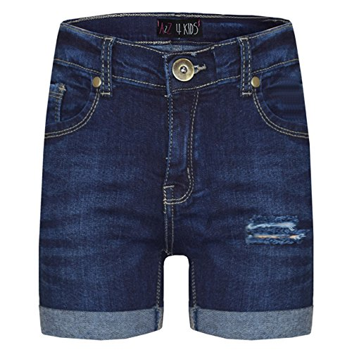A2Z 4 Kids® Kinder Shorts Mädchen Jungen Denim Zerrissene - Shorts Denim Ripped Dark Blue 9-10