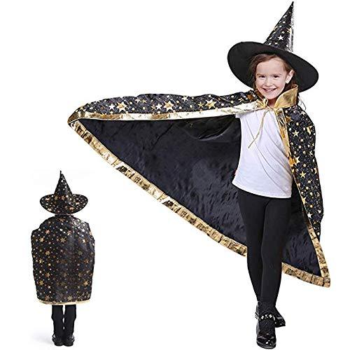 Anzmtosn Halloween Kostüme Hexenzauberer Umhang mit Hut Zauberer Umhang und Hut Kinder Kinderkostüm Cosplay Kostüm für Kinder Kleinkinder Kinder Jungen / Mädchen (Schwarz)