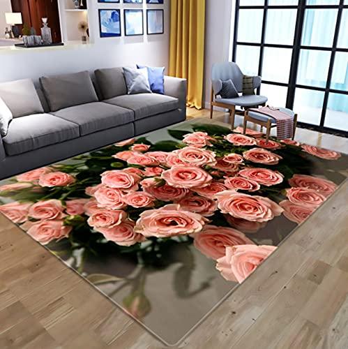 Creativity Flowers 3D Digital Printed Carpet, Kids Room Play Area Rugs Hallway Floor Mat Home Decor Large Carpets For Living Room 140X200Cm