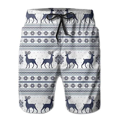 WANGKG Men's Big and Tall Swim Trunks Beachwear Drawstring Summer Holiday,Pixel Art Style Christmas Pattern with Reindeer and Snowflake Motifs,3D Print Shorts Pants,XL
