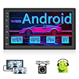 Android Car Stereo Double Din Car Radio 7 Inch Touch Screen Radio with GPS Navigation WiFi Bluetooth FM Radio Receiver Mirror Link + External Microphone + ISO Power Cord + Backup Camera