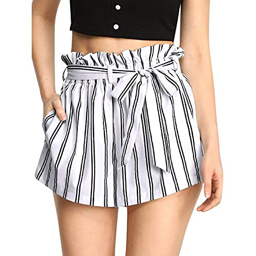 Buy Discount EINCcm Women Teen Girls Short Paper Pants, Bow Belt Ruched Waist Striped Shorts Summer ...