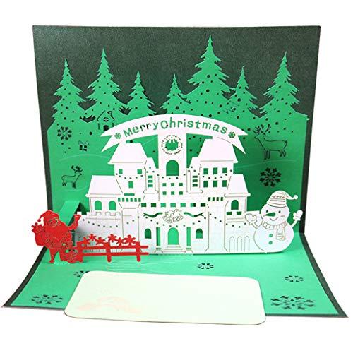 XINGYUE Tarjetas de felicitación 3D de Navidad, 3D, diseño de árbol de Navidad, Navidad, Año Nuevo, invitaciones con sobre, regalos de festival