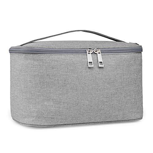 Travel Makeup Bag Large Cosmetic Bag Makeup Case Organizer for Women and Girls (Large, Grey)