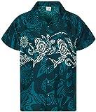 Funky Camisa Hawaiana, Manga Corta, Maori Chest, Verde Petróleo, L