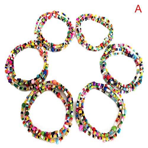 Juego de 6 cadenas de cuentas elásticas para mujer y niña, de colores jóvenes, para cintura