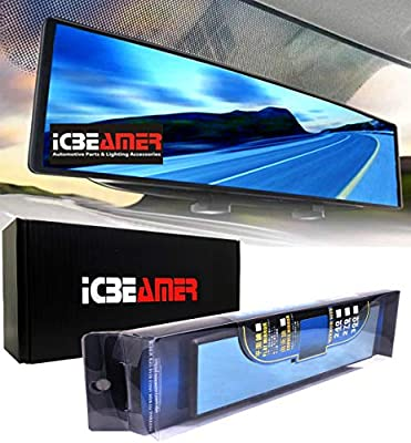"""ICBEAMER 9.4"""" 240mm Easy Clip on Wide Angle Panoramic Blind Spot Fit Auto Interior Rear View Mirror Convex Blue Surface"""