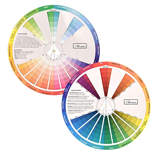Creative Color Wheel, Paint Mixing Learning Guide Art Class Teaching Tool for Makeup Blending Board Chart Color Mixed Guide Mix...