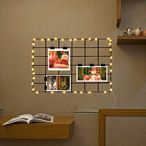 FUNPENY Black Wall Grid Panels, Light Up Grid with Photo Clips, Ins Art Photo Frames with Lights Include 10 Free Clips