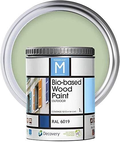 Pintura para Madera | Bio-based Wood Paint RAL 6019| 1 L | Pintura Ecológica para Todo Tipo de Madera | Pintura Madera Exterior Semi Mate | Color Verde