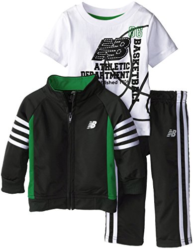 New Balance Baby Boys' Athletic Department Tricot Jacket and Pant with T Shirt, Black/Celtic Green, 18M