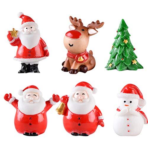 Toyvian 12 Stücke Weihnachten Miniatur Ornament Weihnachtsmann Figur Rentier Schneemann Dekofigur Miniaturfiguren Tischdeko Sukkulenten Bonsai Blumentopf Micro Landschaft Dekoration