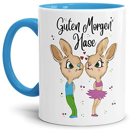 Tasse mit Spruch Hasenliebe - Guten Morgen Hase - Geschenk-Idee/Süßer Hase/Kaffee-Tasse/Ostern/Liebe - Innen & Henkel Hellblau