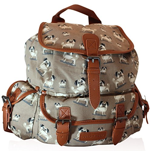 zack-hunter New Girls Backpack Ladies Rucksack Travel Bag School Handbags in Pug Design 7386 Beige