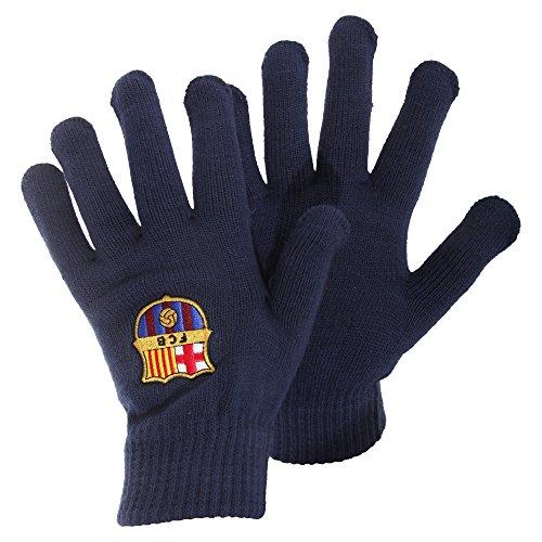FCB FC Barcelona - Guantes oficiales Modelo Escudo Core hombre caballero - Invierno fútbol (Talla Única) (Azul marino)