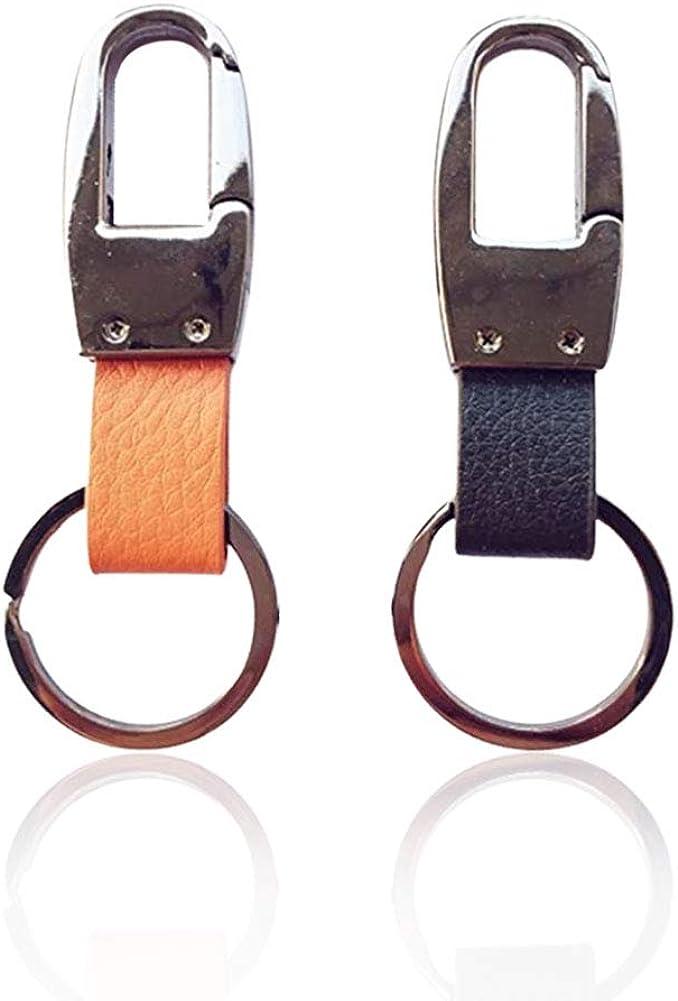 Leather Valet Key Chain,Key Ring Holder, Heavy Duty Hardward Belt Clip Key Ring--2pack (Chrome)
