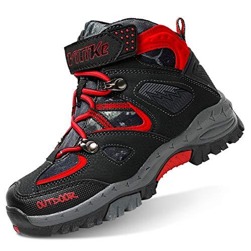 Botas de Senderismo niños Zapatos de Senderismo de Invierno Forro de Nieve Piel Caliente Botas de montaña al Aire Libre Negro Azul 37 EU