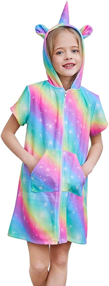 Basumee Girls Terry Cover Up Unicorn Hooded Terry Cloth Swim Coverup for Beach 3-12Y