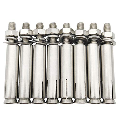 Sipery Expansion Bolts, 304 Stainless Steel External Hex Nut Expansion Screw Bolts Sleeve Anchor M6x60mm 8Pcs