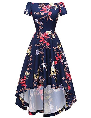 Gardenwed Damen Rockabilly Kleid Abendkleid Schulterfreies Cocktailkleid Jerseykleid Skaterkleid Vokuhila Brautjunfermkleider Navy Flower L