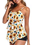 Summer Mae Women 2 Piece Flounce Sunflower Printed Top with Boyshorts Tankini Swimsuits XL