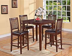 3PC Square Pub Counter Height Table 36' 2 Stools In Mahogany Finish