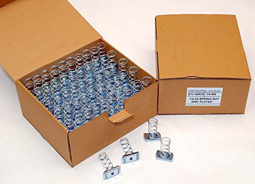 (100) Strut Channel Nuts 1/4-20 Standard Spring Zinc Plated Unistrut Nut