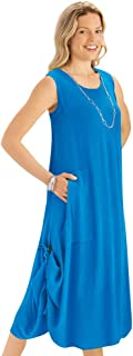 Collections Etc Side Button Trim Solid Color Tank Dress with Pockets and Scoop Neckline - Cute Summer Outfit