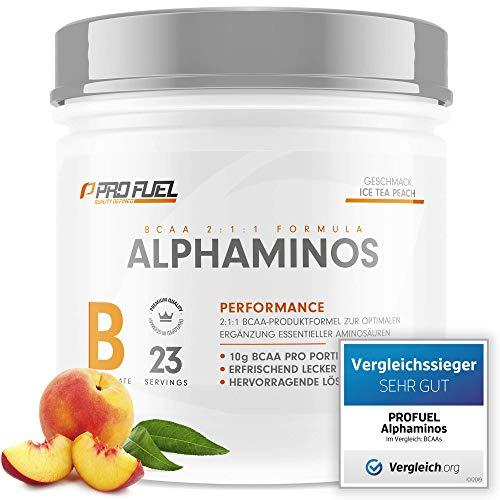 ALPHAMINOS   TESTSIEGER BCAA Pulver 2:1:1   Das ORIGINAL von ProFuel   Essentielle Aminosäuren   Unfassbar leckerer Geschmack (Ice Tea Peach)