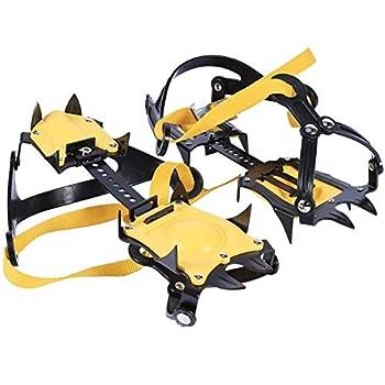 TOOGOO 10 Dents Crampons d'alpinisme, Acier Inoxydable Grips de Neige Crampons avec Sac de Rangement Traction de Clé Hexagonale Pointes Pinces