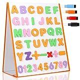 TTMOW Pizarra Blanca Magnética Escritorio Portable Plegable Doble Cara para Niños con 26 Letras, 10 Números, 5 Símbolos Matemáticos y 4 Lápices de Pizarra (37.5*32cm)