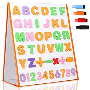 TTMOW Pizarra Blanca Magnética Escritorio Portable Plegable Doble Cara para Niños con 26 Letras, 10 Números, 5 Símbolos…