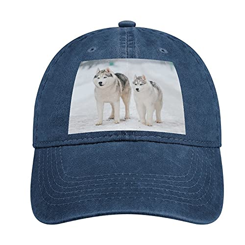 Adult Curved Rubber Cowboy Hat Siberian Husky Can Be Adjusted, Suitable for Men and Women Fashion Lovely Fun Navy