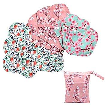 Asenappy Sanitary Pad 10 PCs Reusable Cloth Pad Washable Cloth Menstrual Pads Panty Liners  Multicolor A