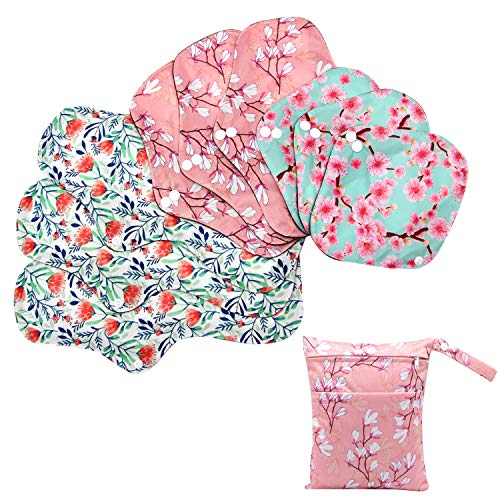 Asenappy Sanitary Pad, 10 PCs Reusable Cloth Pad Washable Cloth Menstrual Pads Panty Liners (Multicolor A)