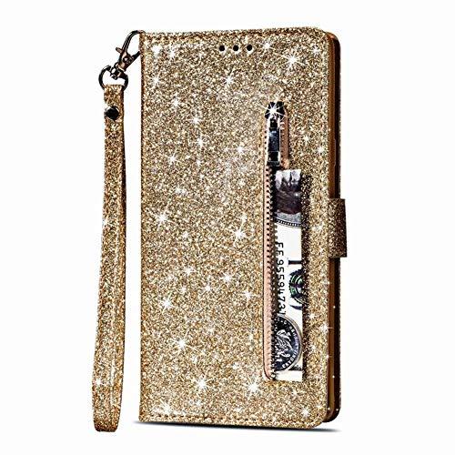 Homikon PU Leder Hülle Schön Bling Glänzend Glitzer Schutzhülle Brieftasche Ledertasche Bookstyle Lanyard Zipper-Funktion Handyhülle Lederhülle Etui Kompatibel mit Huawei P30 Lite - Gold