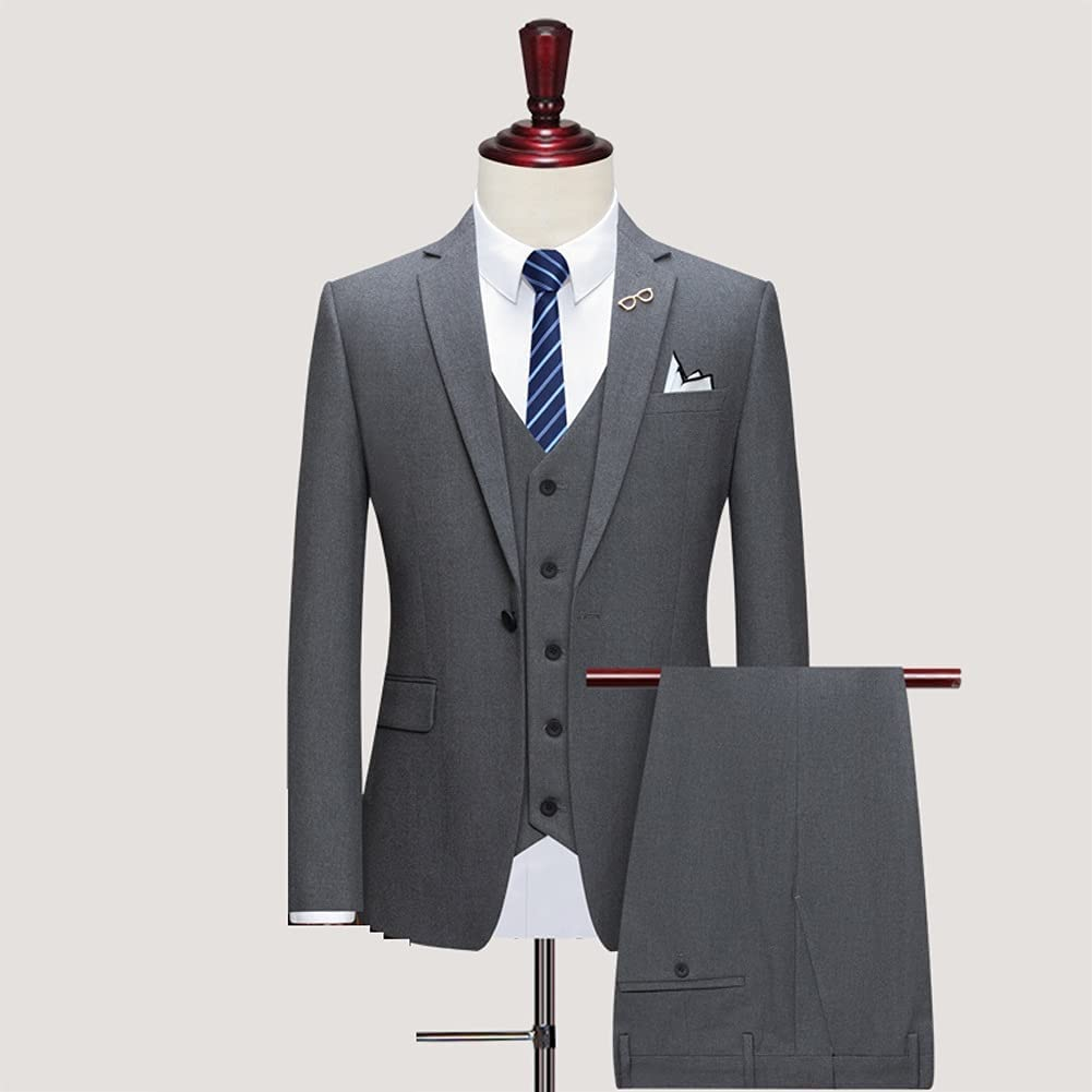 ZZABC (Jacket+Pants+Vest Wedding Suits for Men Best Man Three Peices Suits Custom Made Suits (Color : Gray, Size : S for 40 to 45 kg)