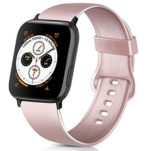 AK kompatibel mit Apple Watch Armband 42mm 38mm 44mm 40mm, Weiche Silikon Sport Ersatz Armband kompatibel iWatch Series 5, Series 4, Series 3, Series 2, Series 1 S/M M/L (Roségold, 38/40mm S/M)