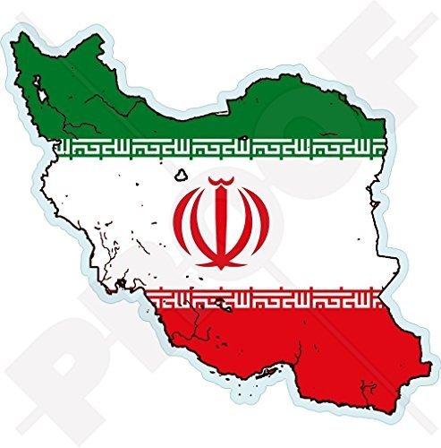 IRAN Islamische Republik Karten-Flagge, Persien IRANIAN, Persisch 110mm Auto & Motorrad Aufkleber, Vinyl Stickers