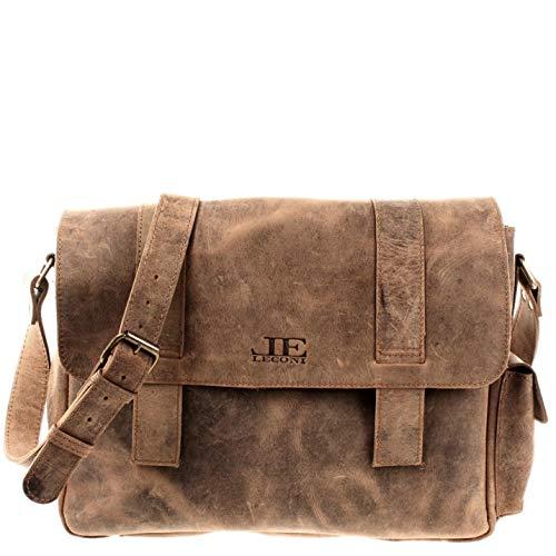 LECONI Schultasche Aktentasche Used Look DIN A4 Collegetasche für Damen & Herren Lehrertasche Messenger Bag Ledertasche aus Büffel-Leder 40x28x12cm braun LE3031-vin