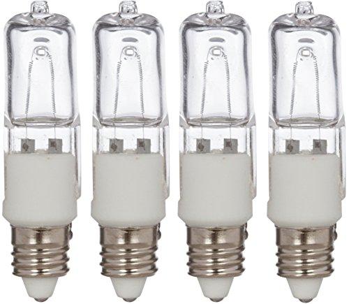 Simba Lighting Halogen E11 T4 50 Watt 560lm 120 Volt Light Bulb (4 Pack) for Chandeliers, Pendants, Table Lamps, Cabinet Lighting, Mini-Candelabra Base, 50W JD 110V 120V 130V Warm White 2700K Dimmable