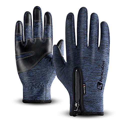 T98 Touchscreen Handschuhe, Fahrradhandschuhe Laufhandschuhe Winter Warme Sporthandschuhe Herren Damen Winddicht Wasserdichter Winterhandschuhe für Radfahren, Wandern, Skifahren(Blue, XL)
