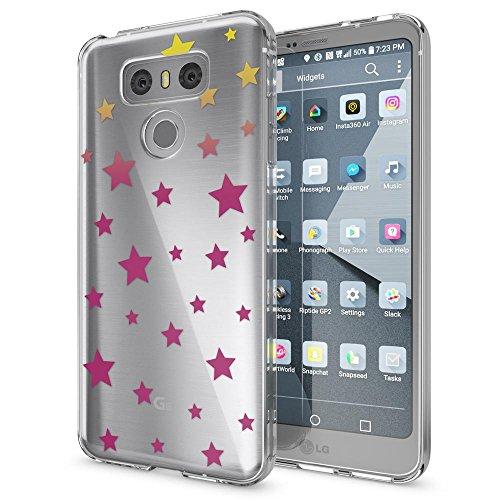NALIA Custodia compatibile con LG G6, Cover Protezione Silicone Trasparente Sottile Case, Gomma Morbido Cellulare Ultra-Slim Protettiva Bumper Telefono Guscio, Designs:Stars