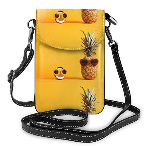 Lawenp Leather Phone Purse, Pineapple Coconut Wearingsunglasses Small Crossbody Bag Mini Cell Phone Pouch Shoulder Bag For Women