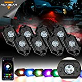 Auxbeam 8 Pods RGB LED Rock Lights with Bluetooth Controller, Underglow Rock Lights Kit for Car Jeep Off Road Truck ATV SUV Boat Waterproof, Multicolor Neon LED Rock Light Kit