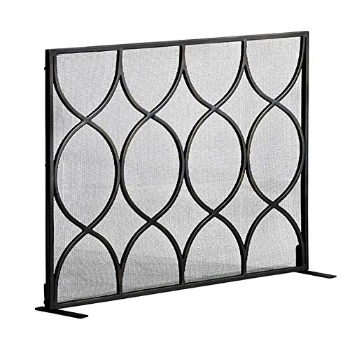 Spark Guard Large Single Panel Fireplace Screen Safety Spark Guard Cover with Metal Mesh - Black Free Standing Indoor Fireplaces Fence, 44 × 7 × 33in