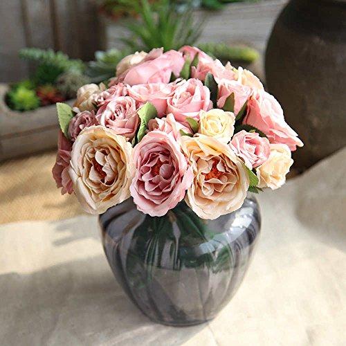 Fleurs Artificielles,Fleur Plastique Fausse Ranunculus Asiaticus 9 Chefs en Soie Bouquet Mariage pour fête de Jardin à la Maison Décor (Champagne-rose)