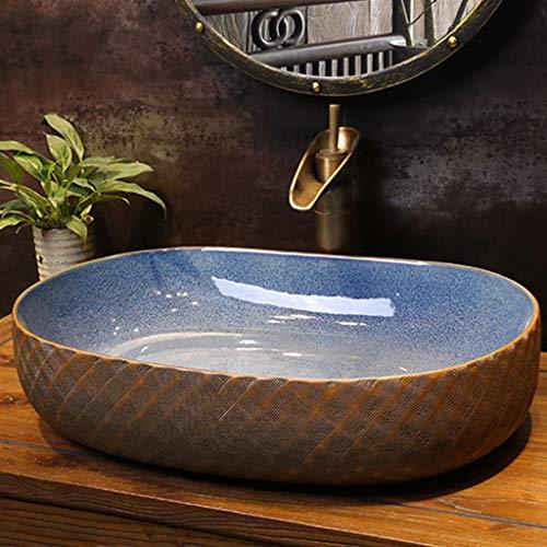 Huishoudelijke kleur geruite wastafels ovale retro slijtvaste wastafel diep vullen met overloop sleuf, 58CM*40CM*14CM 1212