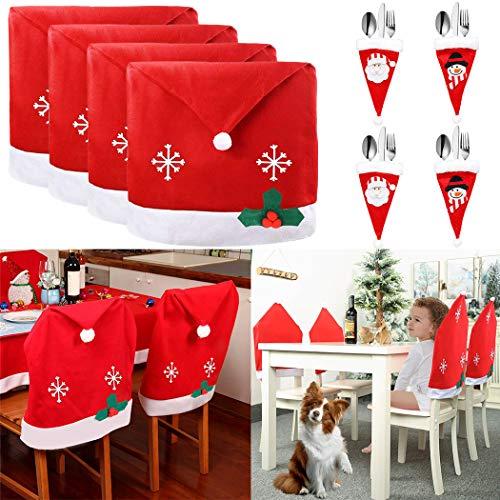 JUSTDOLIFE 4 PCS Cubierta de la Silla de Navidad, 4 PCS Soportes Cubiertos de Muñeco de Nieve de Pa
